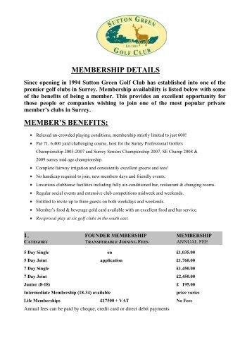 Sutton Green Golf Club - Membership Details - The Guide 2 Surrey