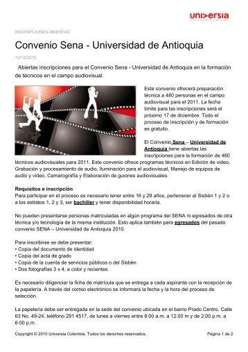 Convenio Sena - Universidad de Antioquia - Noticias - Universia