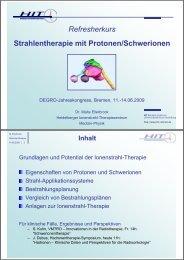 Refresherkurs Strahlentherapie mit Protonen ... - Wcenter.de