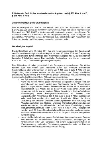 Erläuternder Bericht des Vorstands zu den Angaben nach § 289 Abs ...