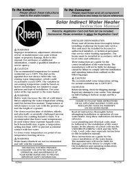 Rheem Solar Indirect Water Heater : instruction manual