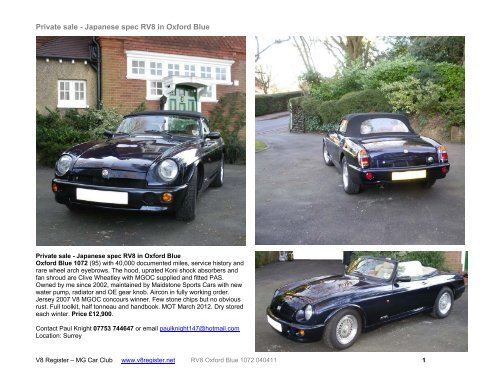 Private sale - Japanese spec RV8 in Oxford Blue - V8 Register