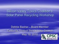 Silicon Valley Toxics Coalition's Solar Panel ... - Solar Scorecard