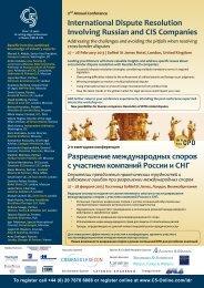 International Dispute Resolution Involving Russian and CIS ... - C5