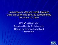 Presentation - National Committee on Vital and Health Statistics