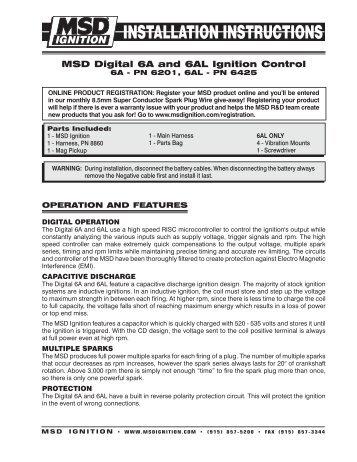 Msd digital 6a and 6al ignition control 6a pn 6201, 6al pn pdf.