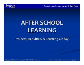 Activities, Projects, and Learning…Oh My! - BOOST Best of Out-Of ...