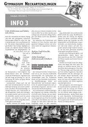Elterninfo Juli 2013 - des Gymnasium Neckartenzlingen