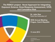 The RISK21 project - ILSI Health and Environmental Sciences Institute