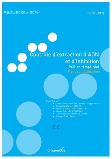 Contrôle d'extraction d'ADN et d'inhibition - Diagenode Diagnostics