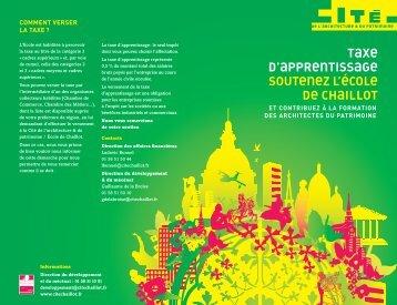 La Taxe d'apprentissage - Cité de l'architecture & du patrimoine