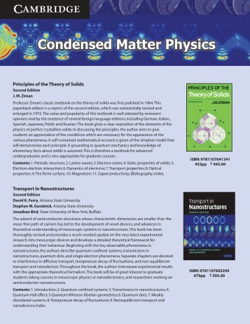 Condensed Matter Physics - Cambridge University Press India