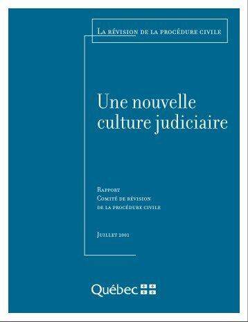 rapport du comité de révision de la procédure civile - Ministère de la ...