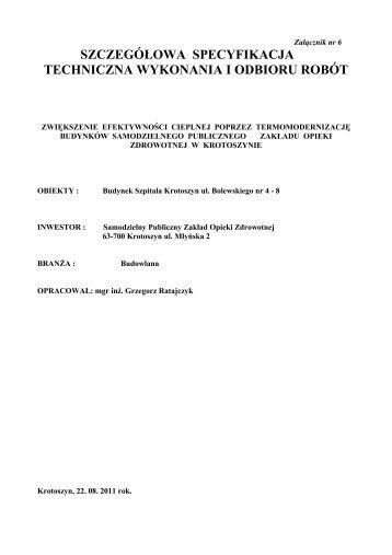 szczegółowa specyfikacja techniczna wykonania i odbioru robót