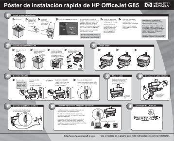 Póster de instalación rápida de HP OfficeJet G85 - Hewlett Packard