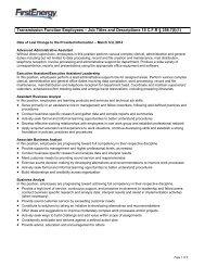 TFE Job Descriptions - FirstEnergy