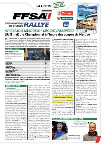 la lettre du Championnat de France des Rallyes - FFSA
