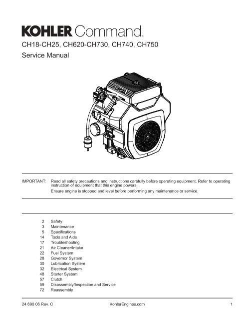 magneto wiring schematic kohler engines ch18 ch25  ch620 ch730  ch740  ch750 kohler engines  ch18 ch25  ch620 ch730  ch740  ch750