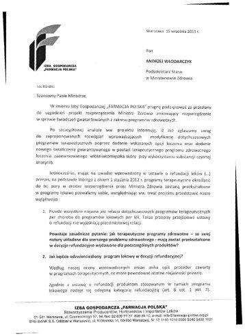 Podsekretarz Stanu w Ministerstwie Zdrowia Szanowny Panie ...