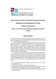 Einladung zur Jahrestagung zum Thema Call for Papers