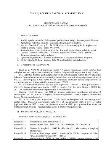 """Aiškinamasis raštas 2011 9 mėnesiu - darželis """"Kūlverstukas"""""""