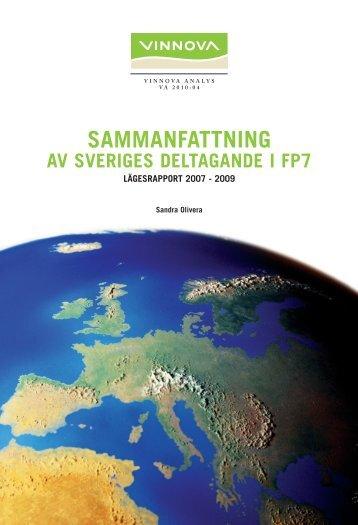 SAMMANFATTNING av Sveriges deltagande i FP7 ... - Vinnova