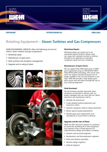 Rotating Equipment – Steam Turbines and Gas Compressors