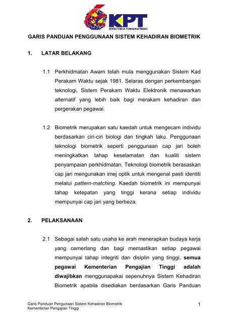 Garis Panduan Sistem Kehadiran Biometrik Kementerian