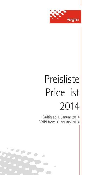 Preisliste Price list 2014 - Fogra Forschungsgesellschaft Druck eV