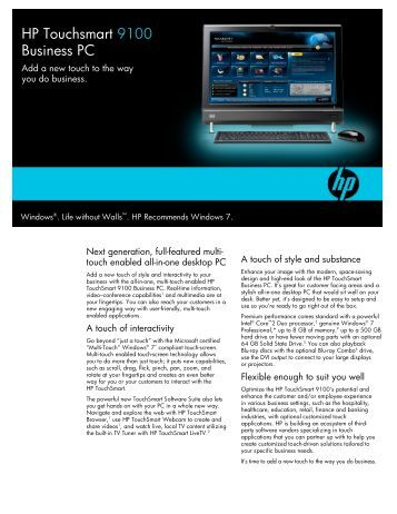 HP Touchsmart 9100 Business PC - HP - Hewlett Packard