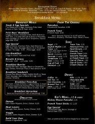 Breakfast Menu - the Boar's Nest