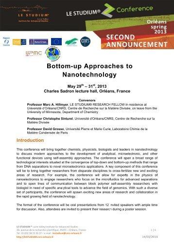 Second announcement - le STUDIUM - CNRS Orleans