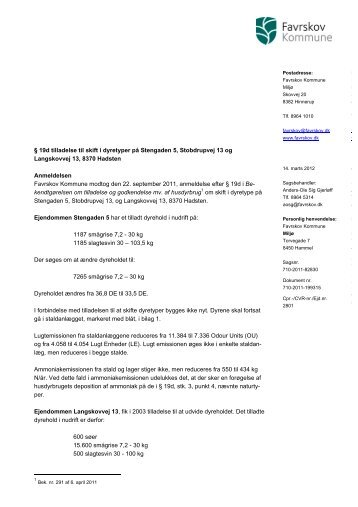 19 d miljøgodkendelse vedr. Stengaden 5 m.fl. - Favrskov Kommune