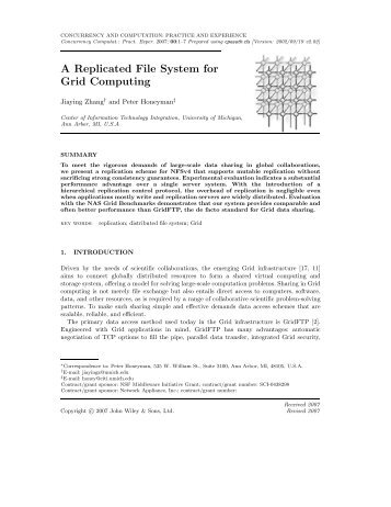 A Replicated File System for Grid Computing - Citi - University of ...