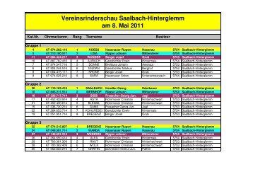 Reihungsliste Saalbach-Hinterglemm - Rinderzuchtverband Salzburg