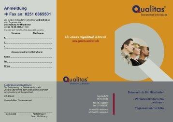 Flyer_DATENSCHUTZ Tagesseminar Koeln kompatibel - Qualitas ...