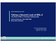 Taking a Second Look at BSL-2 - ABSA Annual Biological Safety ...
