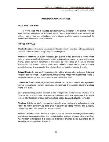 Salud, Arte y Cuidado. Vol. I. Año 2 N 3 Julio-Diciembre ... - Imbiomed
