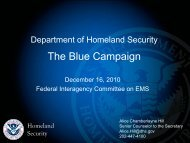 Department of Homeland Security Combating Human Trafficking