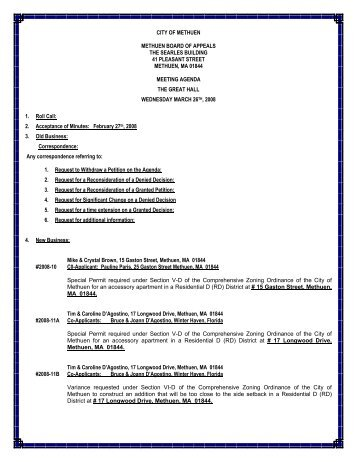 3/26/08 Zoning Board Agenda - Methuen