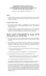Politique de gestion contractuelle concernant la conclusion des ...