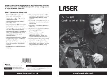 Opel   Vauxhall   Saab - Laser Tools