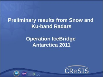 Preliminary results from Snow and Ku-band Radars Operation ...