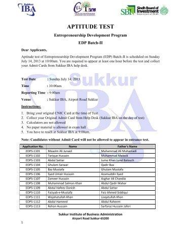 APTITUDE TEST - Sukkur Institute of Business Administration