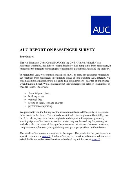 auc report on passenger survey - Air Transport Users Council