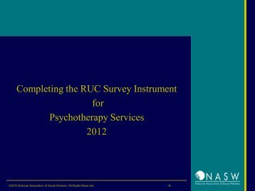 Completing the RUC Survey Instrument for Psychotherapy Services ...