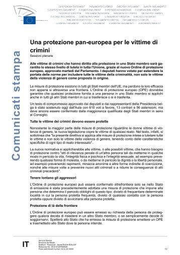 Una protezione pan-europea per le vittime di crimini