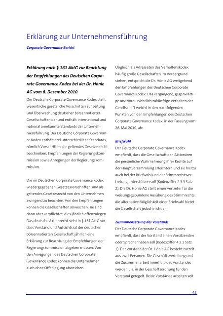 Corporate Governance Bericht 2010 - Dr. Hönle AG