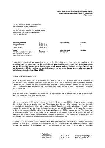 Omzendbrief betreffende de toepassing van het koninklijk besluit ...