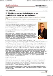 El BNG incorpora a Lola Dopico a su candidatura para las ... - Duvi